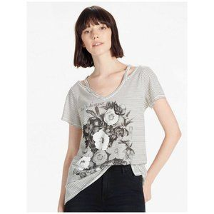 Lucky Brand Floral Cut out Flower Tshirt